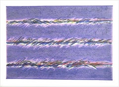 DREAMFIELDS II: PURPLE Signed Lithograph, Pastel Abstract, Graphite Pencil Gray