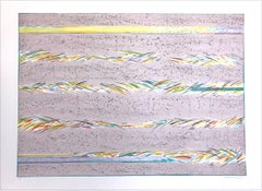 DREAMFIELDS III: TAUPE Hand Drawn Lithograph, Pastel Abstract Drawing