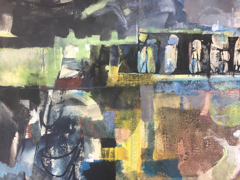 """Mixed media painting titled """"Abandoned Bridge"""" done in Pennsylvania where Syd Solomon  was born. Composed of ink, gouache and oil paint on heavy archival paper. The work is mainly composed using gouache with oil paint highlights throughout.  The use"""