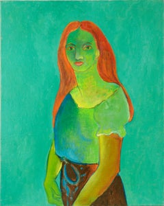 Mid Century Fauvist Portrait of Red Headed Woman