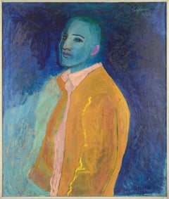 Mid Century Fauvist Self Portrait in Blue and Yellow