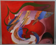 Vintage Red Surreal  Abstract 1965