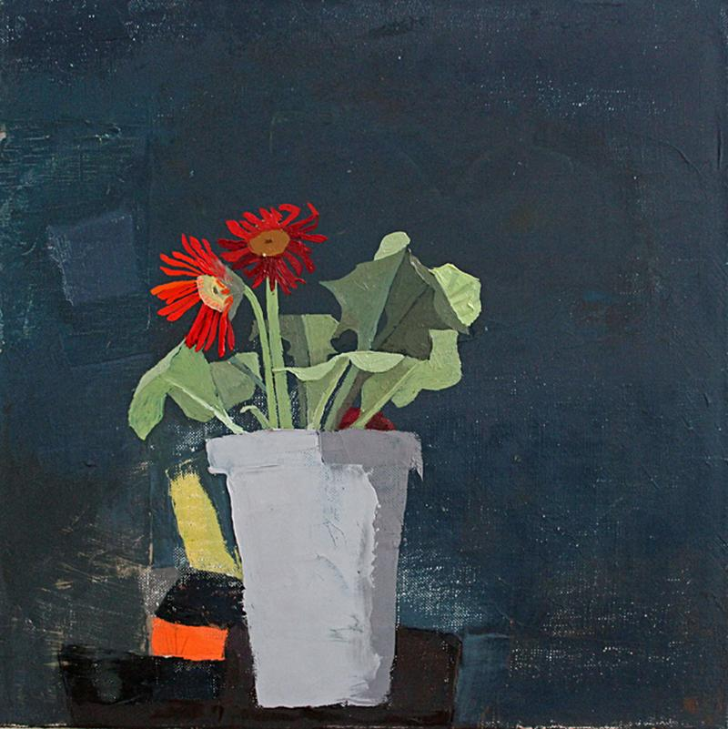"Sydney Licht ""Still Life with Gerbera Daisy Plant"" -- Small Oil Painting"