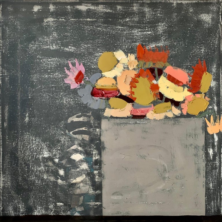 """Sydney Licht """"Still Life with Flowers"""" Contemporary Oil Painting - Gray Still-Life Painting by Sydney Licht"""