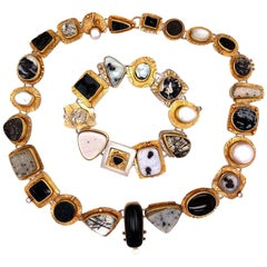 Sydney Lynch Multi Gemstone Designer Necklace and Bracelet Estate Fine Jewelry