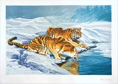 SIBERIAN TIGERS Signed Lithograph Tigers Drinking Snow Landscape Exotic Wildlife