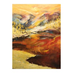 """""""Untitled"""" Modern Textured Yellow and Earth Toned Gestural Abstract Oil Painting"""