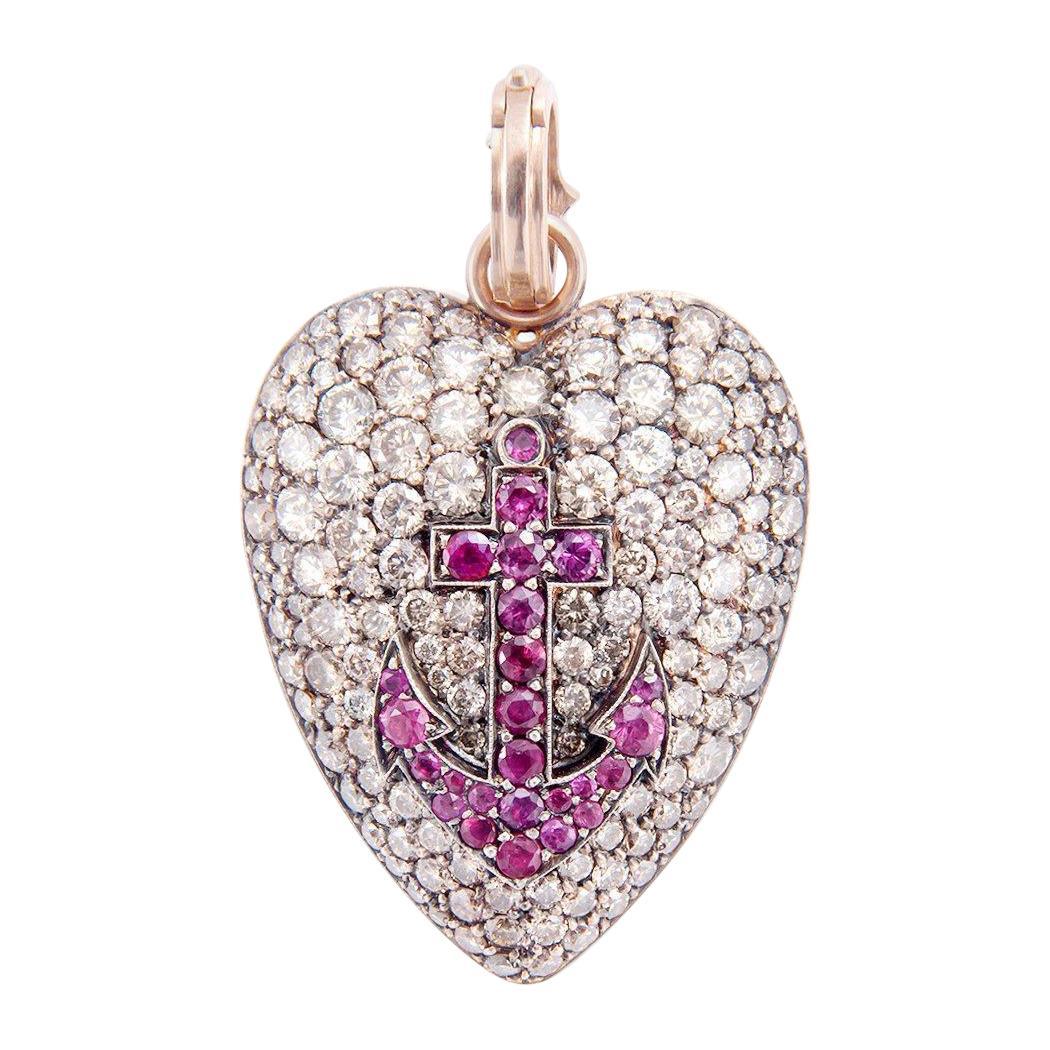 Sylva & Cie Champagne Diamond Heart Pendant with Ruby Anchor