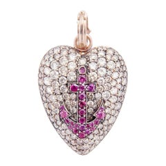Sylva & Cie Champagne Diamond Heart Pendant with Ruby Anchor