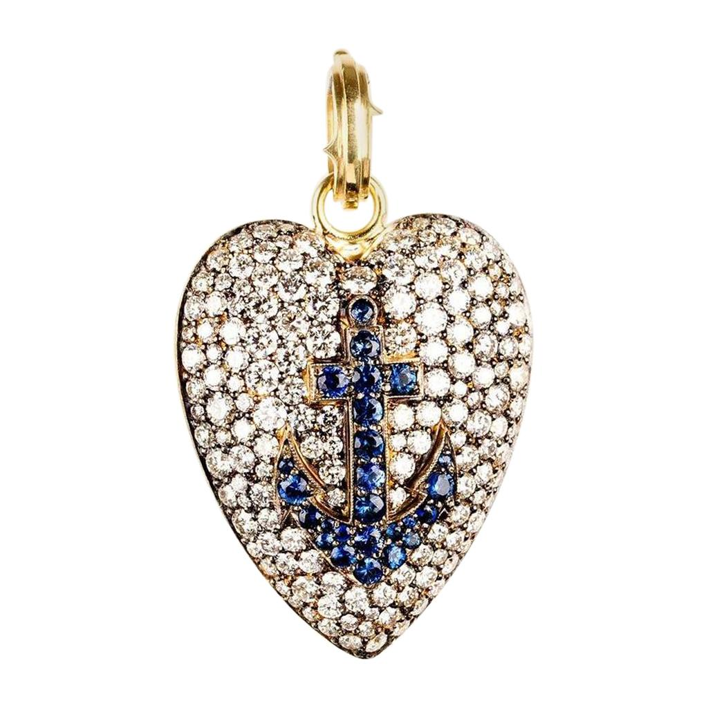Sylva & Cie Diamond Heart Pendant with Sapphire Anchor