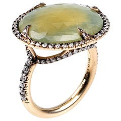 """Sylva & Cie """"Good Girl Gone Bad"""" Green Sapphire Cocktail Ring with Diamonds"""