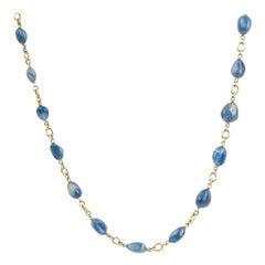 Sylva & Cie Handmade Burmese Sapphire Bead Necklace