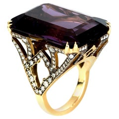 Sylva & Cie Mega Emerald Cut Amethyst Cocktail Ring with Diamonds in 18k Gold