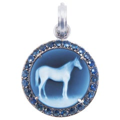 Sylva & Cie Onyx and Sapphire Horse Cameo Pendant