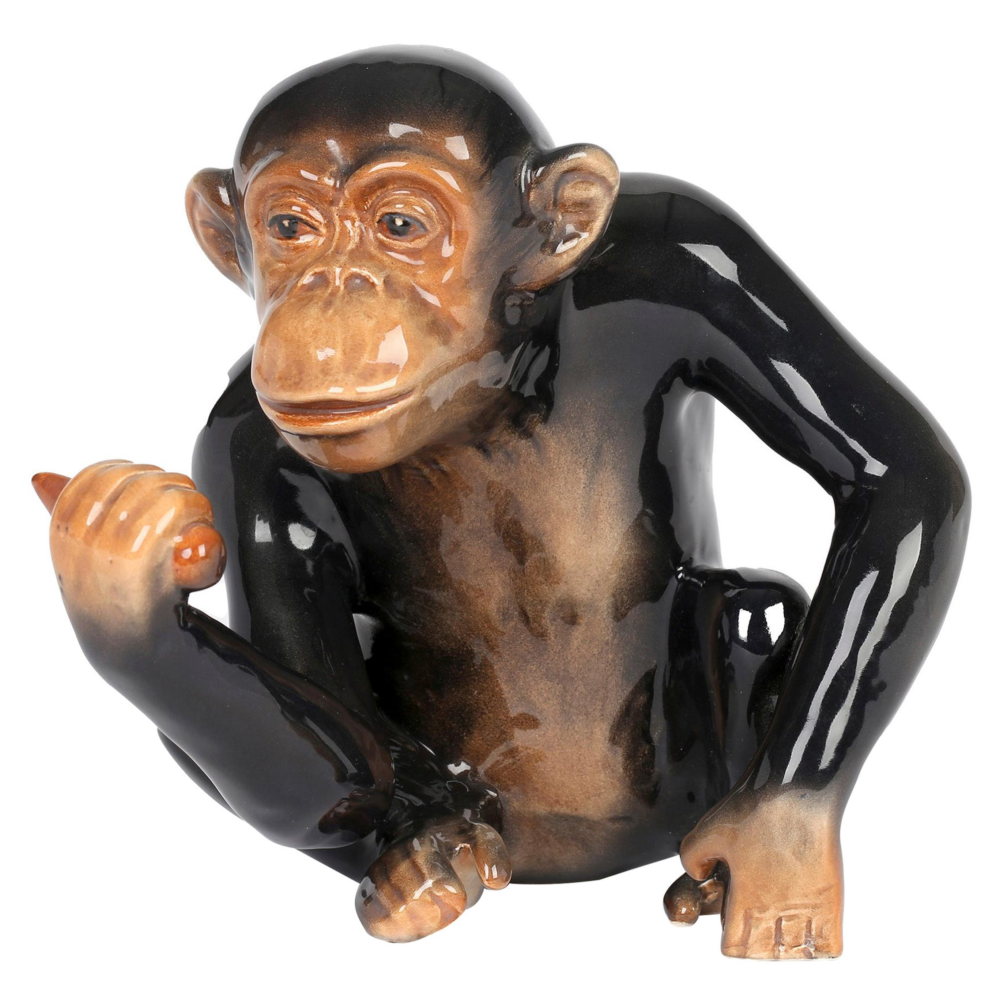 Sylvac English Art Deco Large Pottery Chimpanzee Figure
