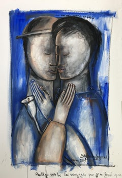 Un Amour Rouge et Bleu. Contemporary Figurative Oil Painting