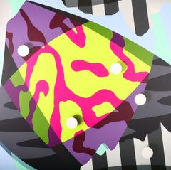 Allegory No 13 - large hot pink, lemon yellow, purple, black and white abstract