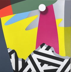 Allegory No 7 - graphic black and white geometric with bold pink and yellow