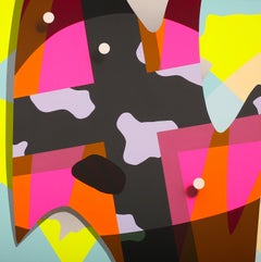 Allegory No 9 - pink, orange, red, mauve, yellow abstract pop painting