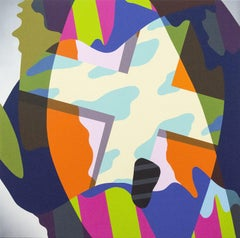 Umbra - graphic, shapes, orange, pink, blue, green, abstract, acrylic on panel