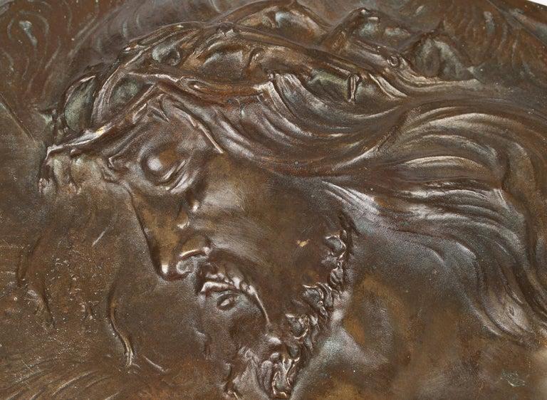 Sylvain Norga Belgian Art Deco Christ Of Thorns Bronze Sculptural Wall Plaque For Sale 6