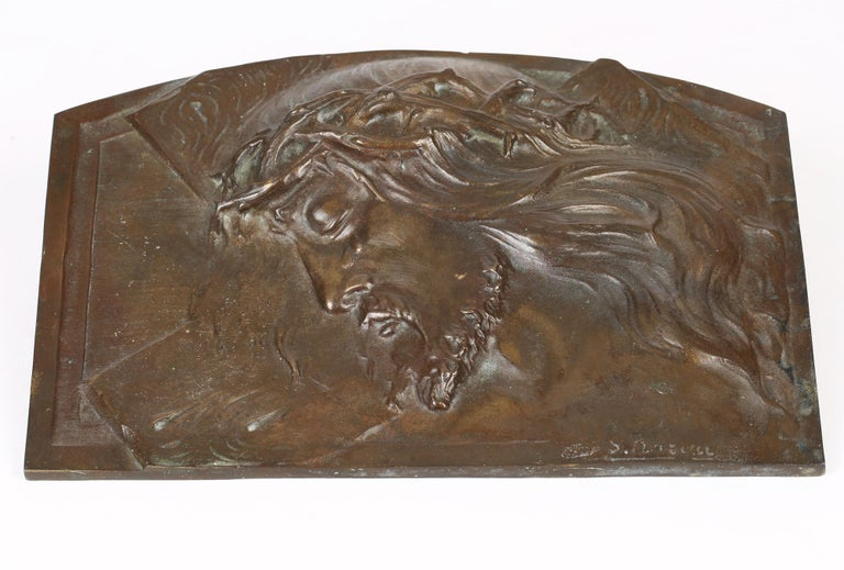 Early 20th Century Sylvain Norga Belgian Art Deco Christ Of Thorns Bronze Sculptural Wall Plaque For Sale