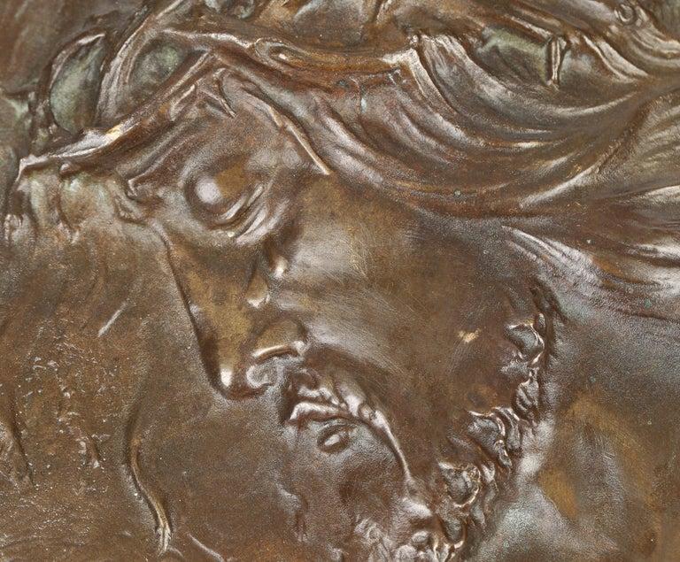 Sylvain Norga Belgian Art Deco Christ Of Thorns Bronze Sculptural Wall Plaque For Sale 1
