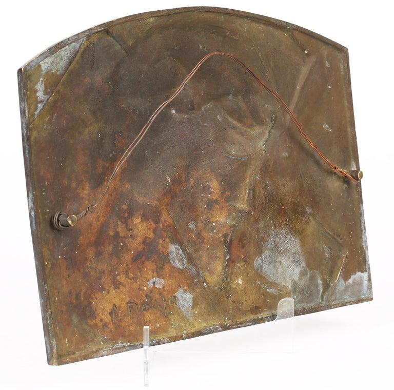 Sylvain Norga Belgian Art Deco Christ Of Thorns Bronze Sculptural Wall Plaque For Sale 2
