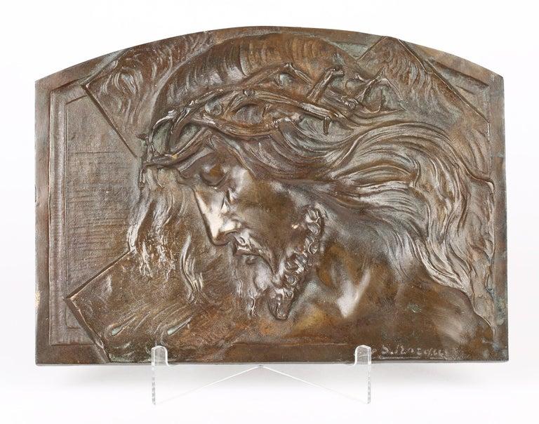 Sylvain Norga Belgian Art Deco Christ Of Thorns Bronze Sculptural Wall Plaque For Sale 4