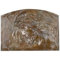 Sylvain Norga Belgian Art Deco Christ Of Thorns Bronze Sculptural Wall Plaque