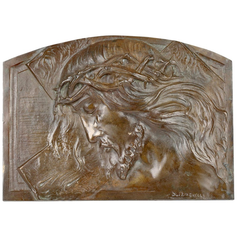 Sylvain Norga Belgian Art Deco Christ Of Thorns Bronze Sculptural Wall Plaque For Sale