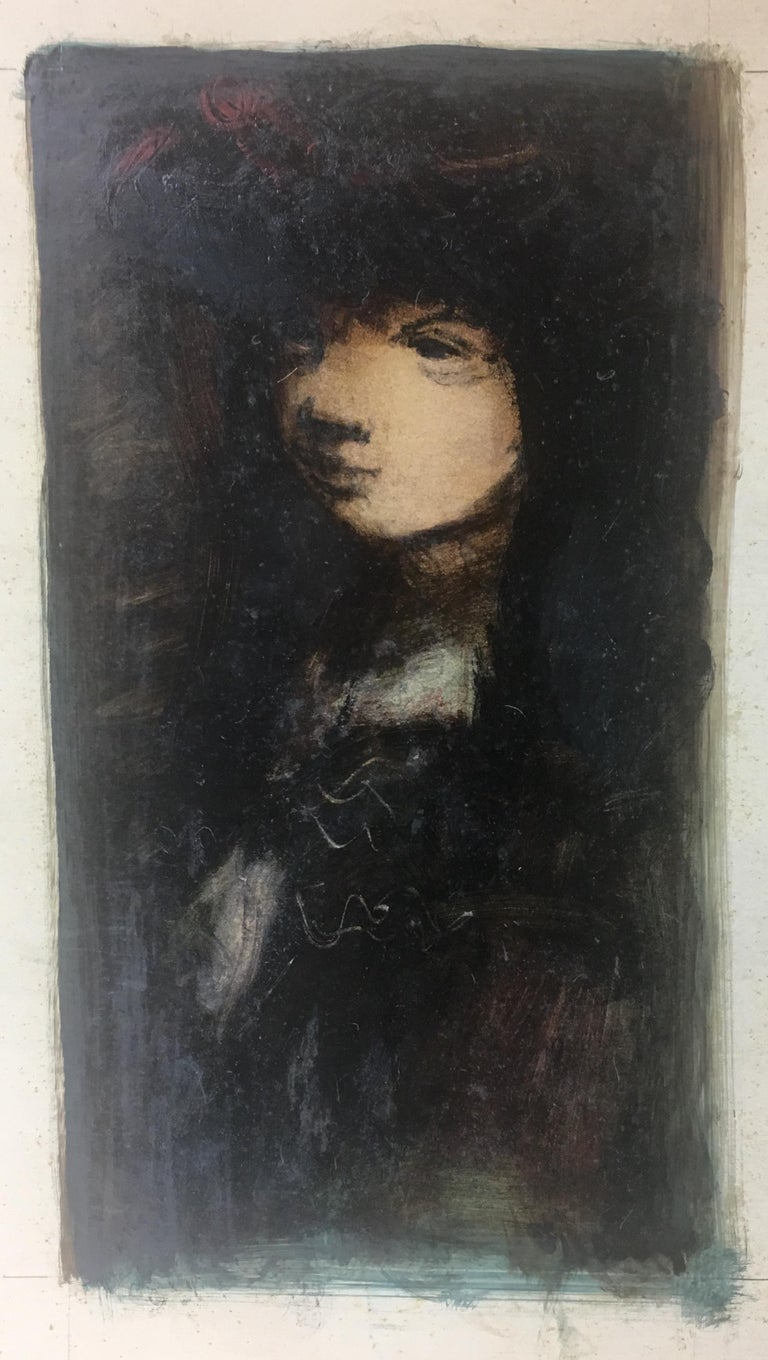 20th Century Sylvain Vigny Original Figurative Oil on Paper Painting, Signed For Sale