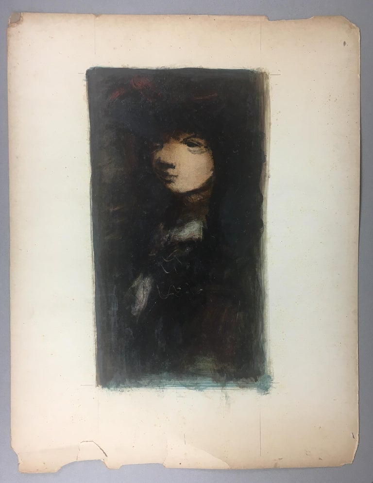 French Sylvain Vigny Original Figurative Oil on Paper Painting, Signed For Sale