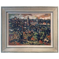 French Post Impressionist Landscape Painting Oil on Board, Sylvain Vigny