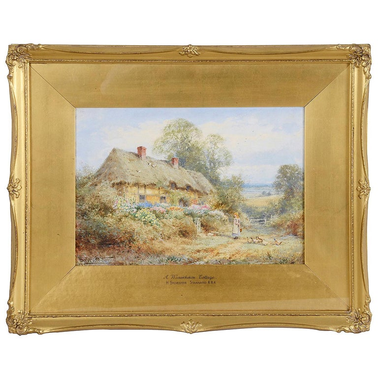 Sylvester Stannard, Water Color of 'A Warwickshire cottage' For Sale