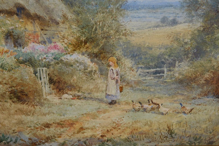 A fine quality 19th century watercolor entitled 'A Warwickshire cottage', depicting a young girl on the path with a family of ducks outside an enchanting thatched country cottage. Painting measuring; 36cm wide x 25cm high  Henry John Sylvester