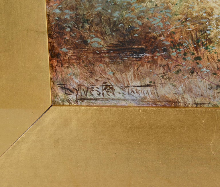 Hand-Painted Sylvester Stannard, Water Color of 'A Warwickshire cottage' For Sale