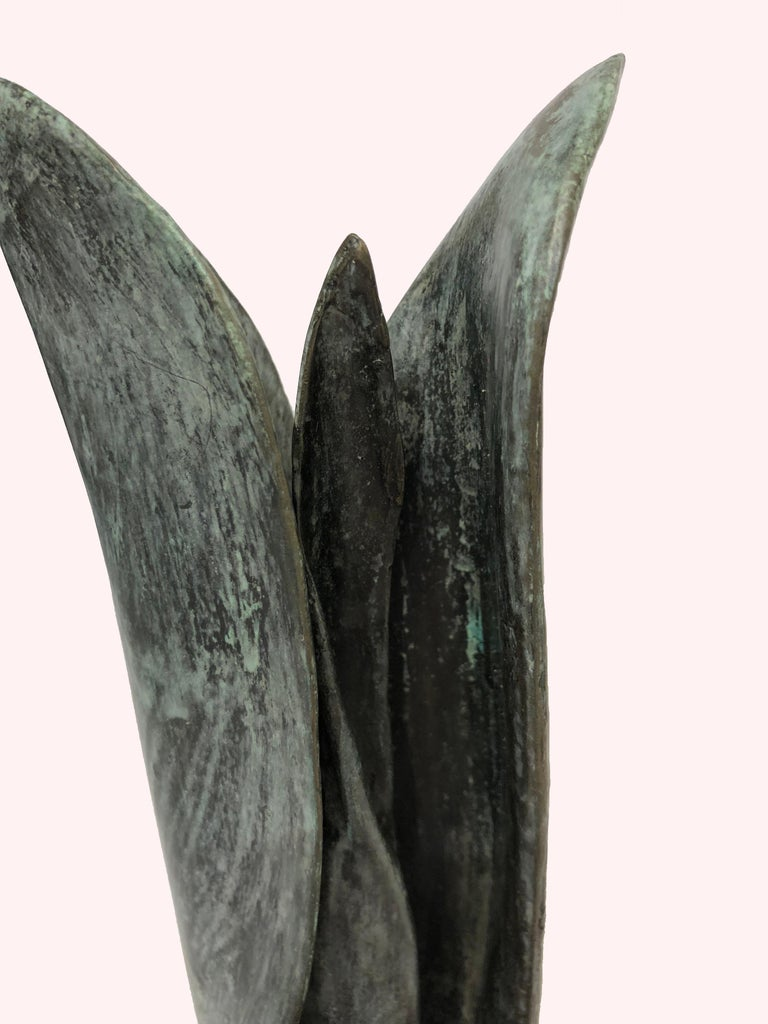 Tulip - bronze sculpture of emerging spring tulip - Realist Sculpture by Sylvia Beckman