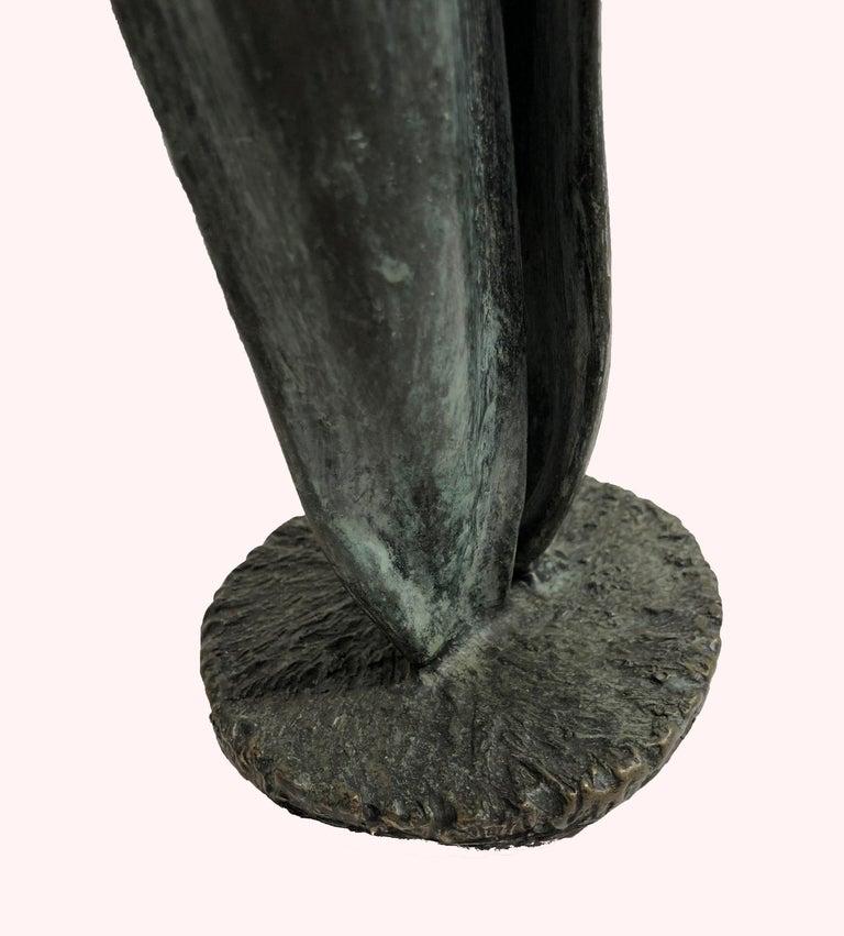 Tulip - bronze sculpture of emerging spring tulip - Gold Still-Life Sculpture by Sylvia Beckman