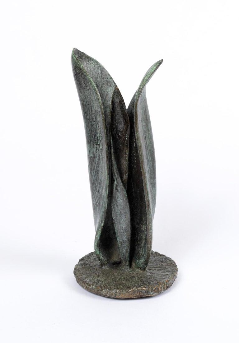 Sylvia Beckman Still-Life Sculpture - Tulip - bronze sculpture of emerging spring tulip