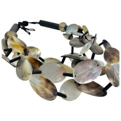 Sylvia Gottwald , Black Mother of Pearl MultI strand Statement necklace