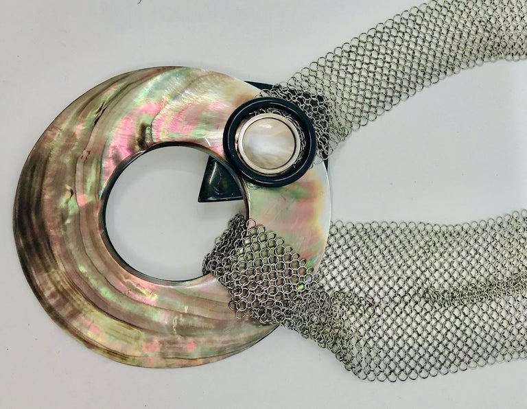 SYLVIA GOTTWALD, Black Mother of Pearl , Necklace /Belt on Stainless Steel Mesh. In New Condition For Sale In Washington DC, DC