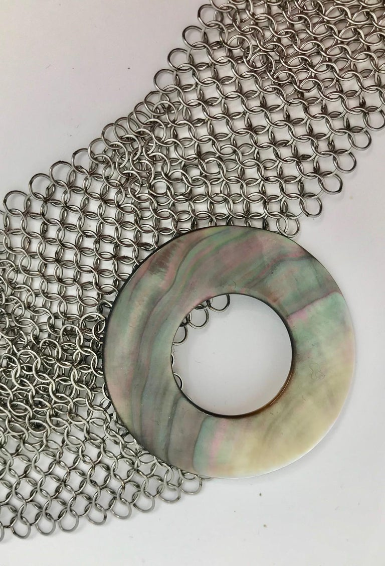 SYLVIA GOTTWALD, Black Mother of Pearl , Necklace /Belt on Stainless Steel Mesh. For Sale 1