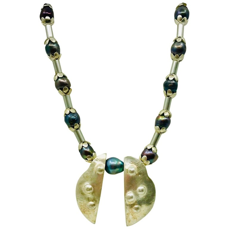 SYLVIA GOTTWALD, Black pearls with Silver spacers, Chocker Necklace For Sale