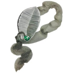 Sylvia Gottwald, Emerald Pendant on Stainless Steel mesh.