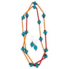 Sylvia Gottwald, extra long necklace :turquoise beads ,acrylic spacers, earrings