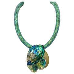 SYLVIA GOTTWALD, Haliotis  / Paua nacreous shell Pendant on Rubber tube Necklace
