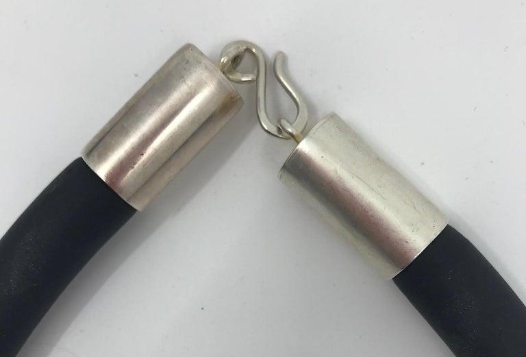 SYLVIA GOTTWALD, Haliotis / Paua sea shell Pendant on a black rubber tube. For Sale 1
