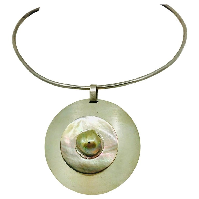 SYLVIA GOTTWALD, Large Pearl on a Silver Pendant and Silver Chocker For Sale