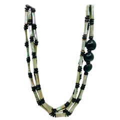 Sylvia Gottwald, Long 3 strand  Necklace with  Art Deco, Abalone beads